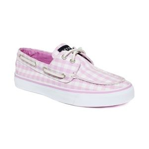 Sperry top sider pink plaid gingham boat shoes